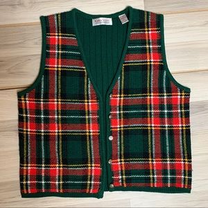 Karen Scott Plaid Vintage Holiday Sweater Vest